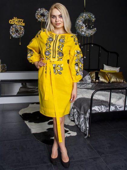 Вишивана сукня Меланія жовта з сірим