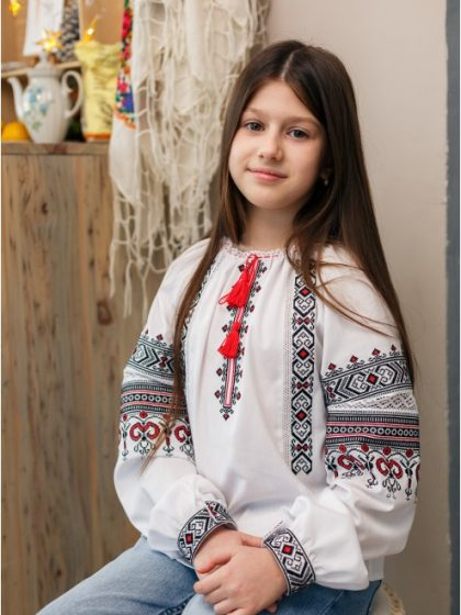 Блузка вишиванка чорно-червона