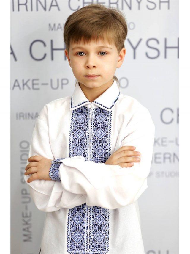 Сорочка вишивана у срібно-блакитній гамі