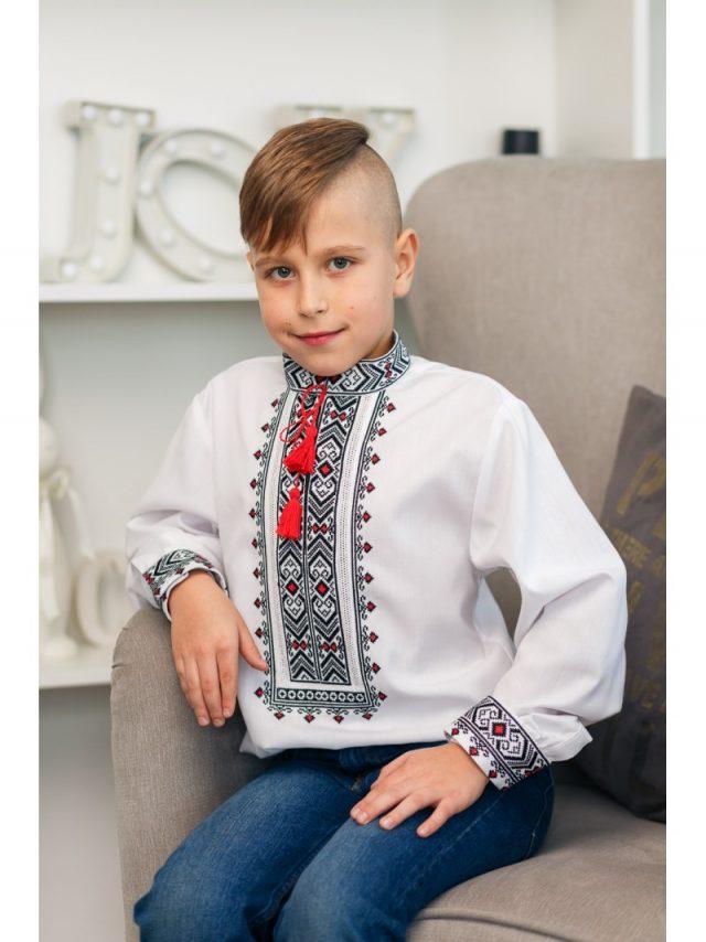Сорочка для хлопчика червоно-чорна