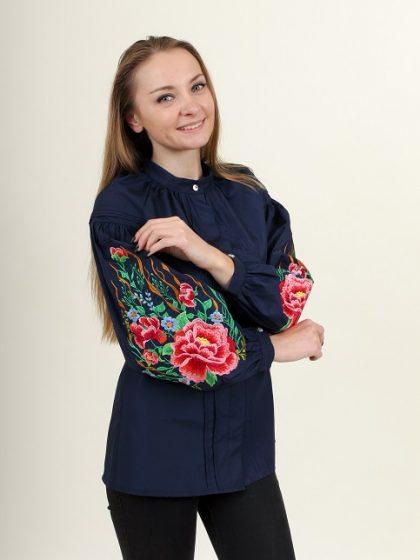 Вишита блуза темно-синя