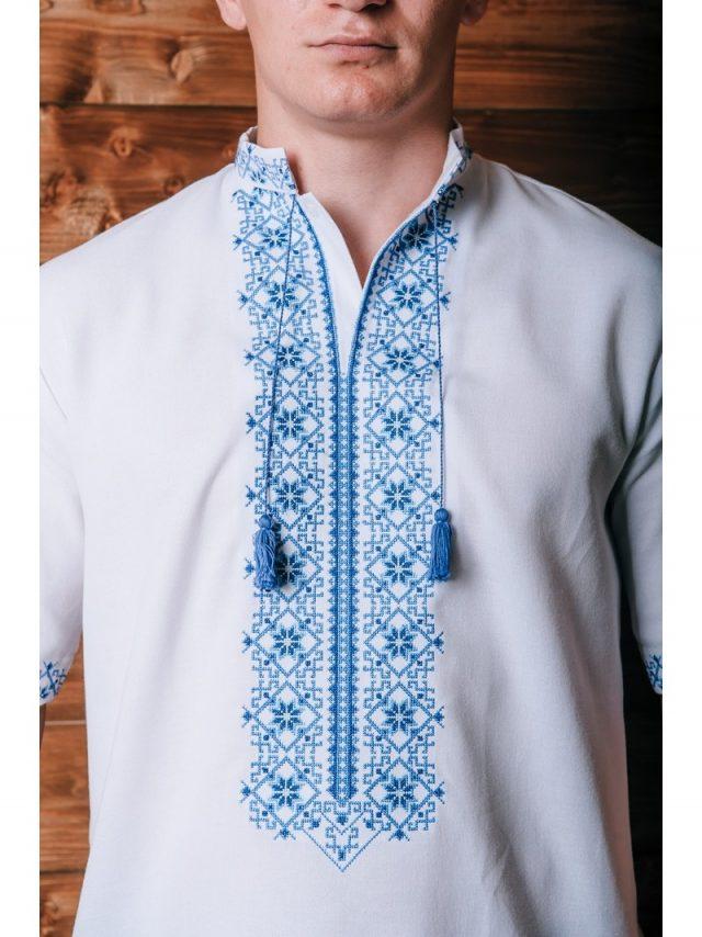 Вишивана сорочка з геометрично-рослинним орнаментом