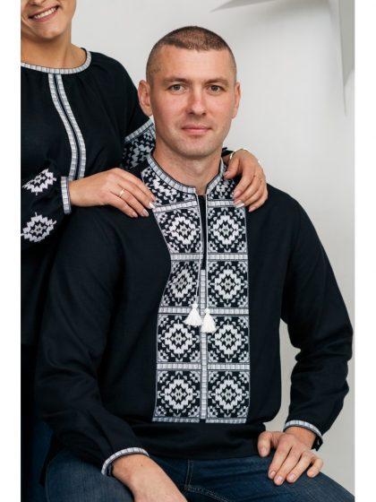 Сорочка вишивана чорна з білою вишивкою
