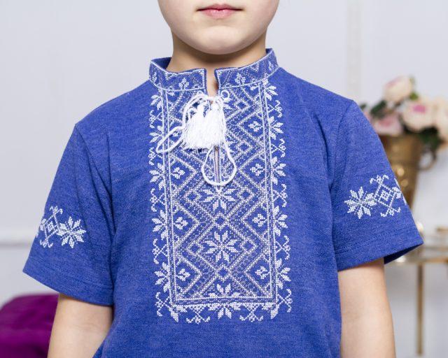 Вишивана футболка блакитна з сірим