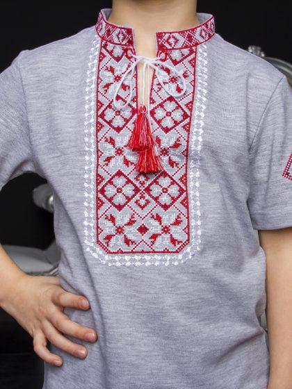 Вишиванка Іванко сіра з червоним