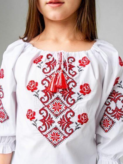 Вишивана сорочка біла з червоним для дівчаток