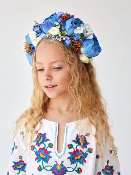 Обруч яскравий з блакитними квітами