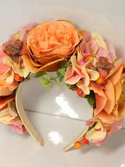 Обруч яскравий персиковий