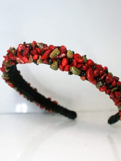 Обруч із натурального червоного каменя