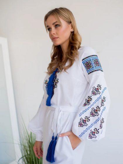 Сукня біла з домотканого полотна