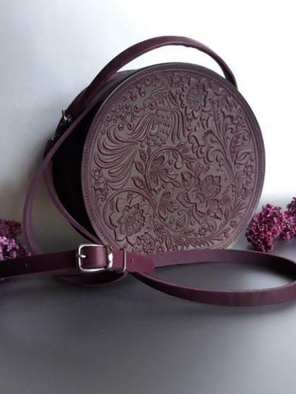 Сумка з натуральної шкіри Жайворонок фіолетова
