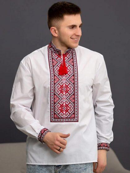 Сорочка класична з червоною вишивкою