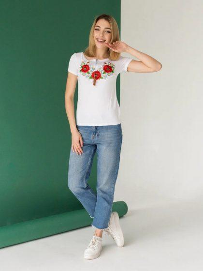 Жіноча футболка з красивими маками