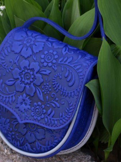 Шкіряна сумка яскраво-синя Софія