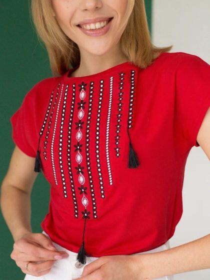 Жіноча футболка-вишиванка Орнамент червона