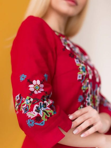 Сукня з льону Ровена темно-червона