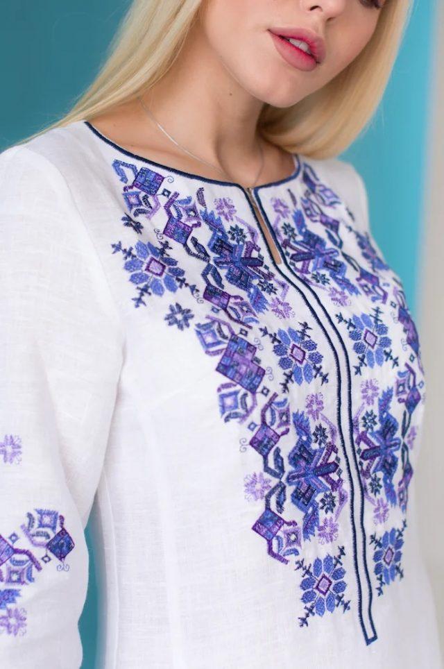 Сукня з льону Ровена білого кольору
