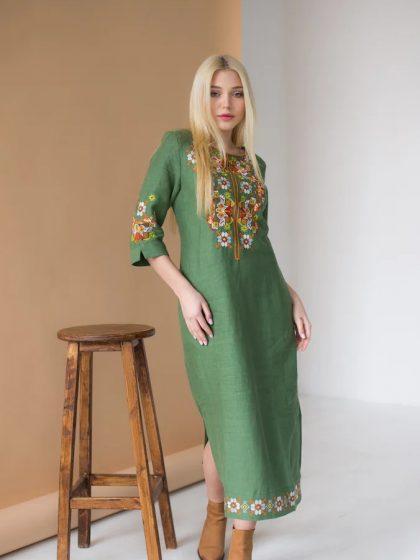 Сукня з льону Ровена ніжно зелена