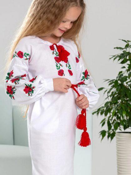 Вишивана сукня для дівчинки Троянда