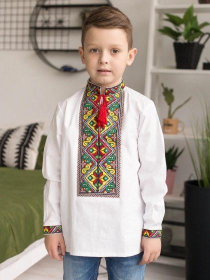 Сорочка для хлопчика з червоно-зеленою вишивкою