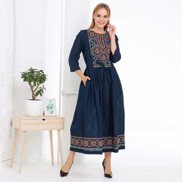 Сукня вишиванка синя з орнаментом Руслана