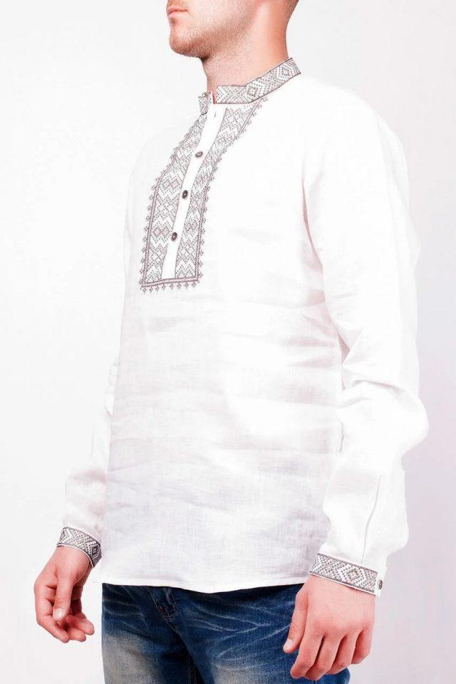 Вишиванка чоловіча біла з коричневою вишивкою
