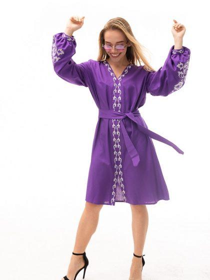 Сукня-вишиванка з квітами фіолетового кольору