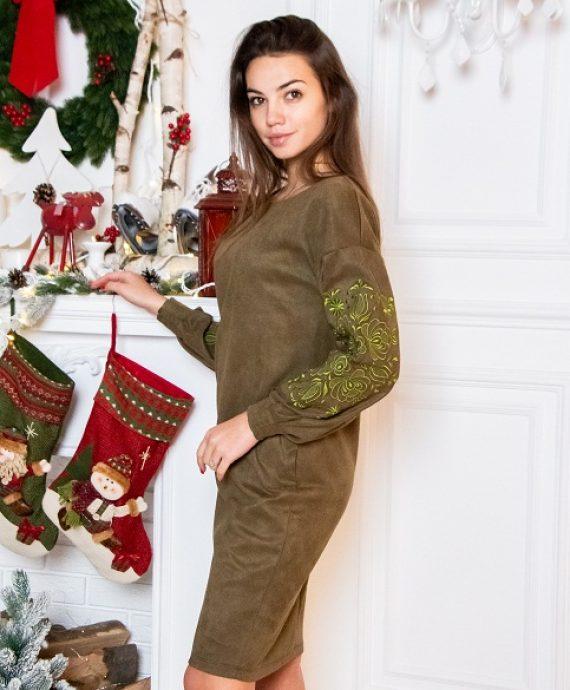 Сукня з вишивкою Скіфія оливкова