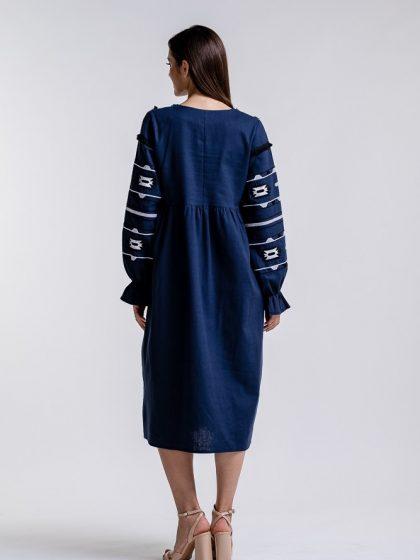 Сукня вишиванка з геометричним орнаментом синя