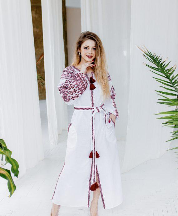 Сукня Злата біла з вишневим