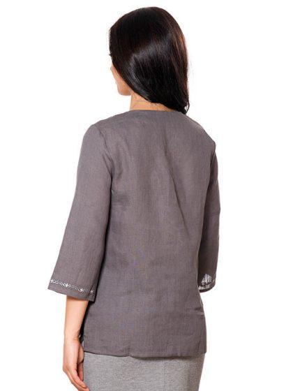 Лляна жіноча вишиванка сірого кольору