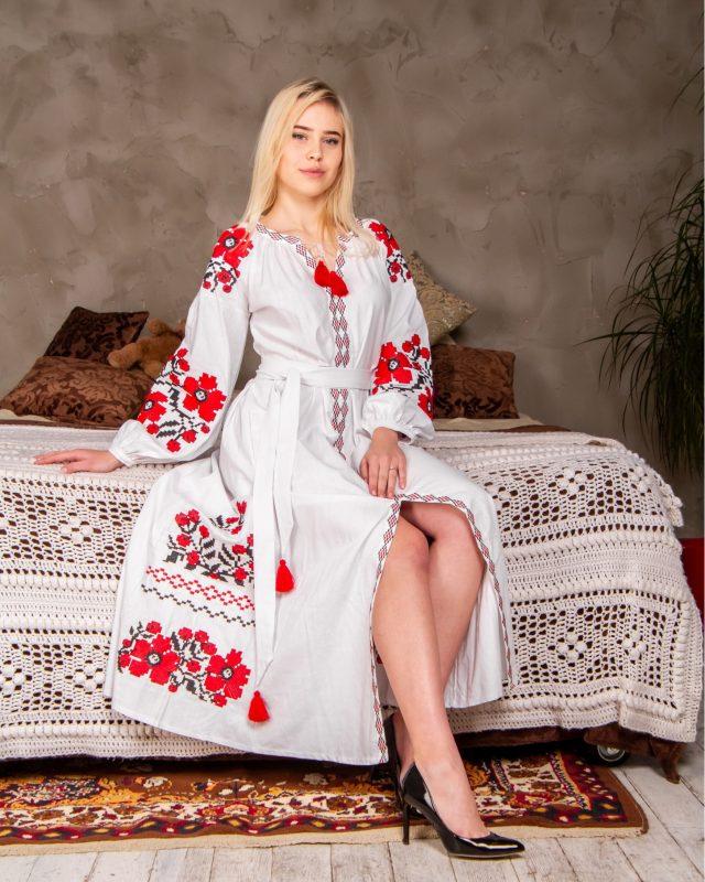 Сукня Паризький букет біла з червоним