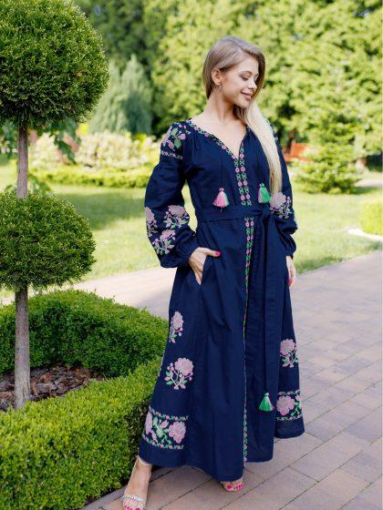 Сукня Паризька троянда темно-синя